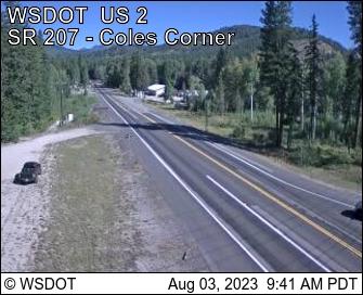 US 2 at MP 84.5: SR 207 Coles Corner looking West