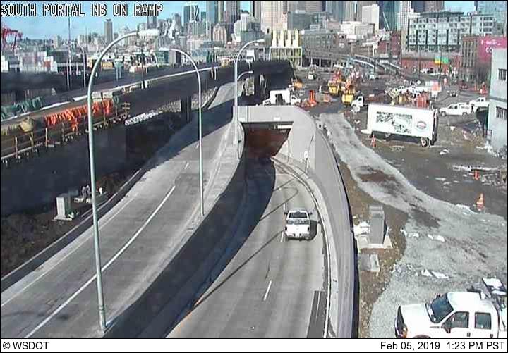 SR 99 northbound off-ramp bridge, southbound tunnel exit, northbound tunnel entrance (looking north)