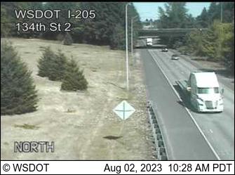 I-205 at MP 36.8: 134th St Looking North