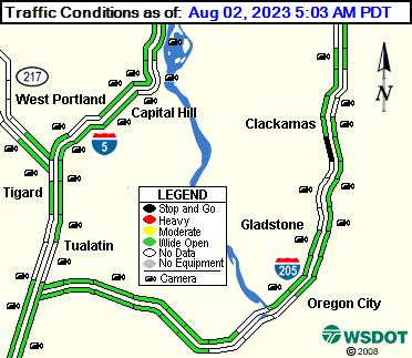 WSDOT - I-205 at Gladstone - South Portland Oregon Cameras on abc news traffic, katu traffic, portland traffic, koin traffic, ksl traffic, fox 12 traffic, wkyc traffic, san clemente traffic,
